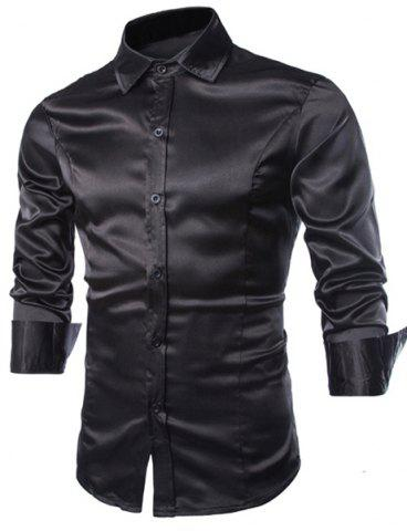 Store Stylish Shirt Collar Splicing Design Solid Color Slimming Long Sleeve Cotton Blend Shirt For Men BLACK XL