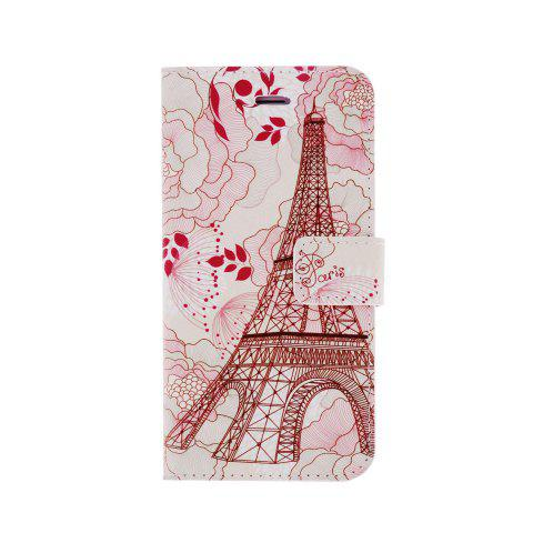 Discount Kinston Flower Tower Pattern PU and PC Material Protective Cover Case with Stand and Card Holder for iPhone 6 - 4.7 inch