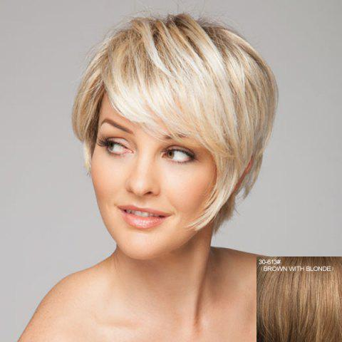 Charming Short Wave Spiffy Side Bang Stylish Human Hair Capless Wig For Women - BROWN/BLONDE