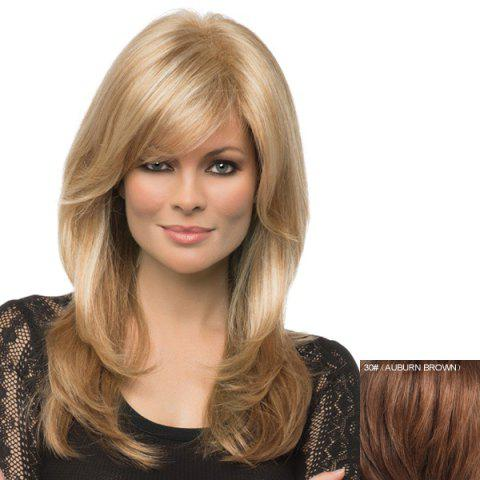 Unique Sophisticated Human Hair Fashion Side Bang Long Straight Charming Capless Wig For Women - 30#  Mobile