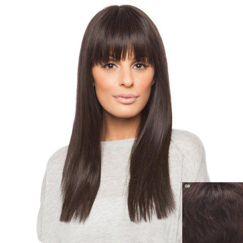 Sale Vogue Daily Neat Bang Charming Silky Straight Long Capless Real Human Hair Wig For Women