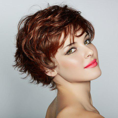 Fancy Deep Brown Stylish Heat Resistant Fiber Fluffy Curly Side Bang Capless Short Wig For Women