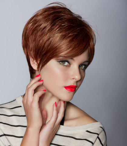 Trendy Natural Straight Dynamic  Shaggy Brown Short Inclined Bang Capless Synthetic Wig For Women