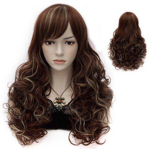 Trendy Shaggy Wave Elegant Long Side Bang Capless Heat Resistant Fiber Wig For Women - RED BROWN MIXED M33L/35/1531#  Mobile