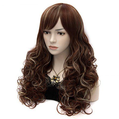 Sale Shaggy Wave Elegant Long Side Bang Capless Heat Resistant Fiber Wig For Women - RED BROWN MIXED M33L/35/1531#  Mobile