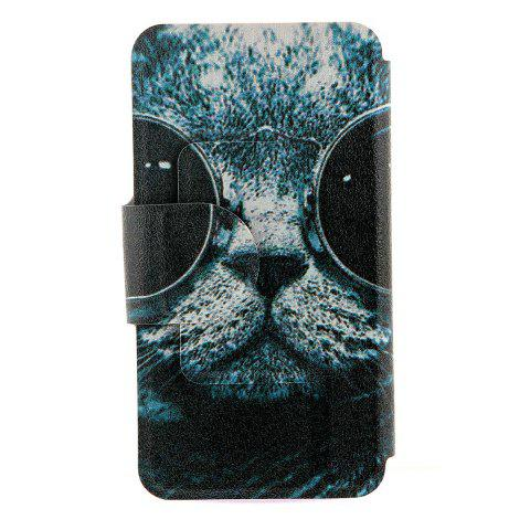 Online Kinston Sunglass Cat Pattern PU Leather Full Body Cover with Stand and Card Holder for iPhone 6 - 4.7 inch - COLORMIX  Mobile