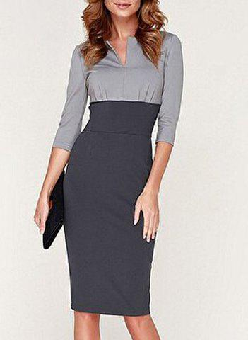 Store Noble Round Collar 3/4 Sleeve Color Block Bodycon Dress For Women