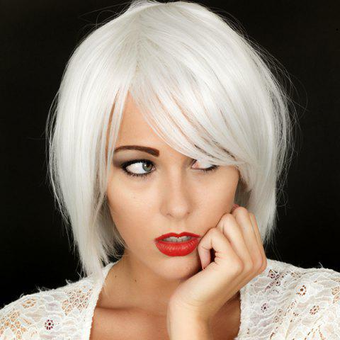 Chic Nobby Straight Shaggy Short Silvery White Heat Resistant Synthetic Inclined Bang Capless Women's Wig