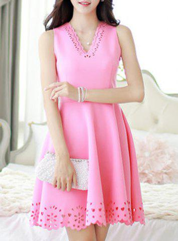 New Elegant V-Neck Candy Color Hollow Out Sleeveless Dress For Women