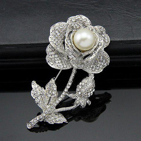 Fancy Rhinestone Flower Faux Pearl Brooch SILVER