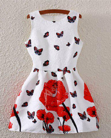 Chic Fashionable Sleeveless Butterfly Print Flare Dress For Women