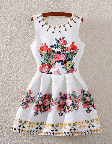 Unique Fashionable Sleeveless High-Waisted Floral Print Flare Dress For Women WHITE S