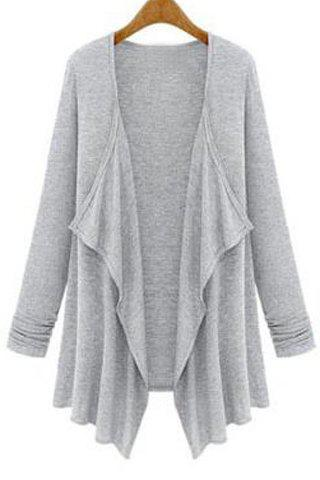 Unique Simple Turn-Down Collar Solid Color Long Sleeve Coat For Women