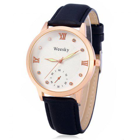 Affordable Weesky Luminous Pointer Diamond Women Quartz Watch with Golden Case Decorative Sub-dial Leather Strap