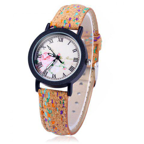 Shops Weesky Retro Flower Dial Quartz Watch with Leather Band for Women