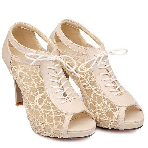 Fashion Graceful Gauze and Hollow Out Design Women's Peep Toe Shoes