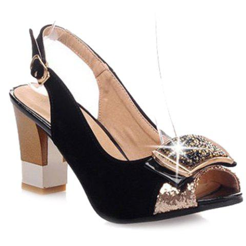 Cheap Graceful Sequined and Suede Design For Women's Peep Toe Shoes