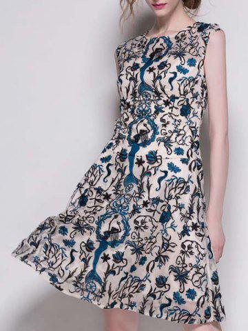Online Casual Various Embroidered Gauze Spliced A-Line Dress For Women