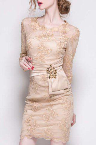 Fashion Stylish Solid Color Flower Embroidered Waist Rhinestone Dress For Women