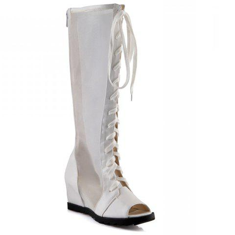 Shops Trendy Gauze and Peep Toe Design Women's Knee-High Boots