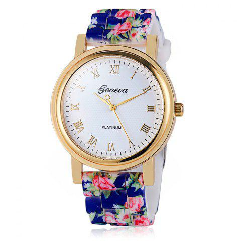 Jijia Printed Silicone Strap Women Quartz Watch with Golden Case - BLUE