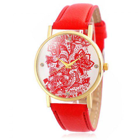 Outfits Jijia Retro Flower Women Quartz Watch with Leather Strap Golden Case