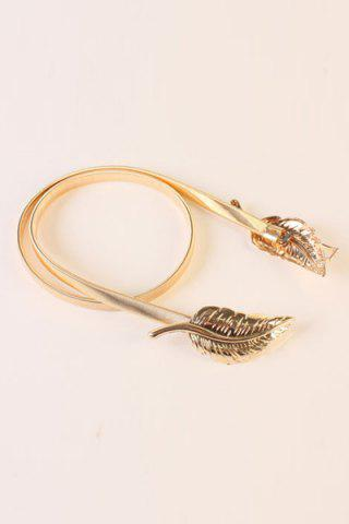 Unique Chic Two Leaves Shape Elastic Waistband For Women - GOLDEN  Mobile