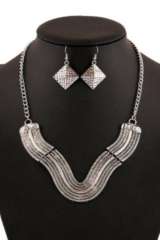 Fancy Chic V Shape Geometric Necklace And Earrings For Women