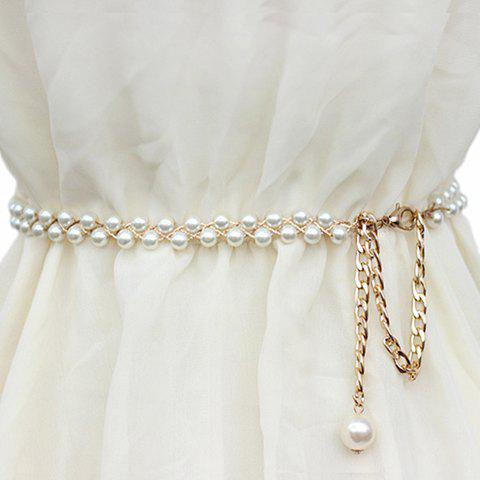 Chic Chic Pendant Embellished Faux Pearl Waist Chain For Women - MILK WHITE  Mobile