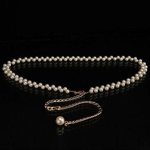 Trendy Chic Pendant Embellished Faux Pearl Waist Chain For Women - MILK WHITE  Mobile