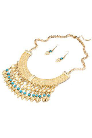 Outfits Classic Turquoise Inlaid Necklace And Earrings For Women