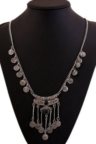 New Chic Resin Coin Pendant Necklace For Women BLACK