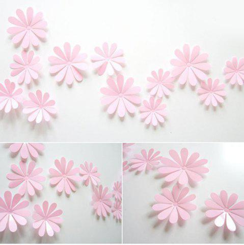 Chic DIY 3D Flowers Wall Sticker Mirror Art Decal PVC Paper for Home Showcase - 12Pcs