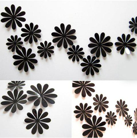 Store DIY 3D Flowers Wall Sticker Mirror Art Decal PVC Paper for Home Showcase - 12Pcs