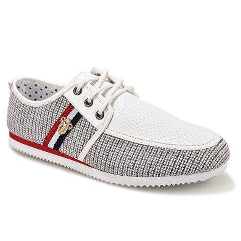 Unique Stylish Style Splicing and Round Toe Design Men's Casual Shoes