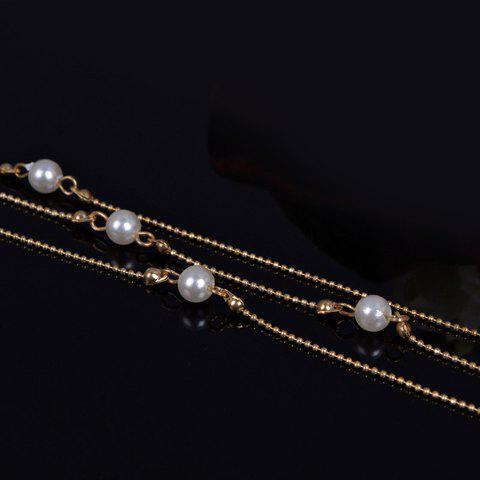 Fancy Chic Faux Pearl Anklet For Women - GOLDEN  Mobile