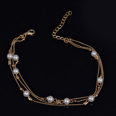Discount Chic Faux Pearl Anklet For Women - GOLDEN  Mobile