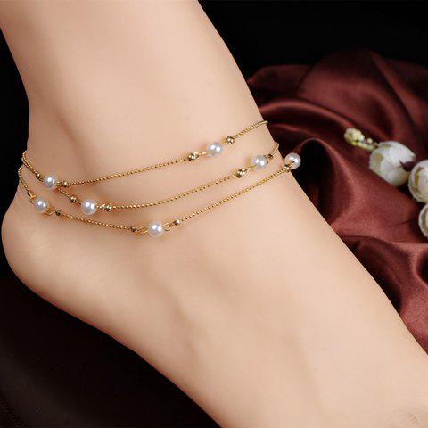 Chic Chic Faux Pearl Anklet For Women - GOLDEN  Mobile