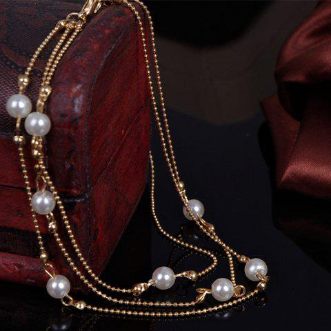 Outfits Chic Faux Pearl Anklet For Women - GOLDEN  Mobile
