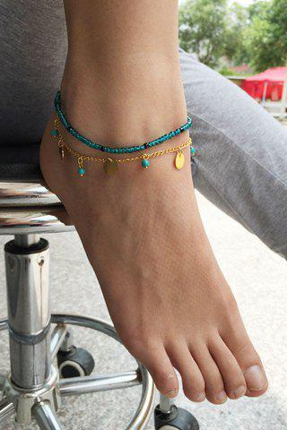 Outfits Fake Turquoise Beads Disc Charm Anklet