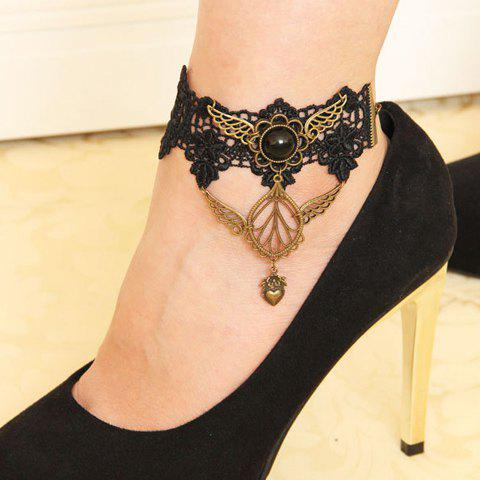 Vintage Wing Flower Heart Tassel Lace Anklet - Black - L