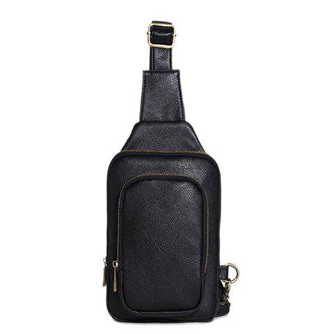 Latest Simple Style PU Leather and Zipper Design Men's Messenger Bag