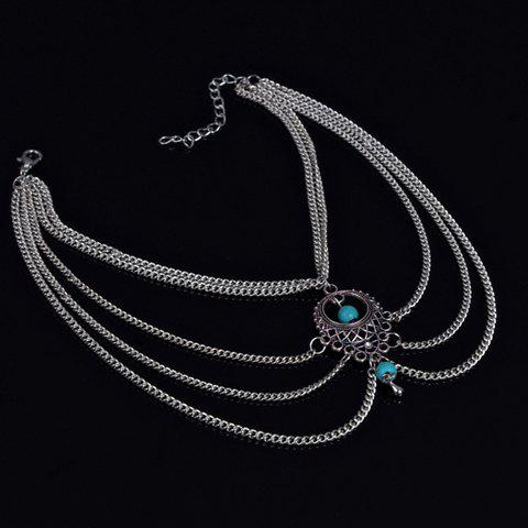 Outfits Ethnic Style Hollow Out Multi-Layered Anklet For Women SILVER