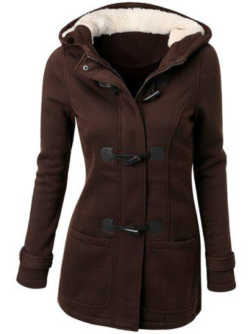 Latest Hooded Double-Pocket Flocking Long Sleeve Long Winter Coat COFFEE S