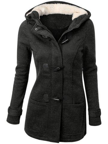 New Hooded Double-Pocket Flocking Long Sleeve Long Winter Coat
