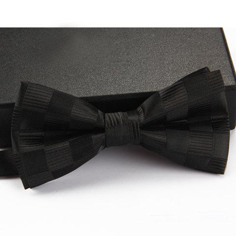 Buy Stylish Checked and Stripe Pattern Bow Tie For Men BLACK
