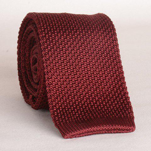 Fancy Stylish Wine Red Knitted Neck Tie For Men