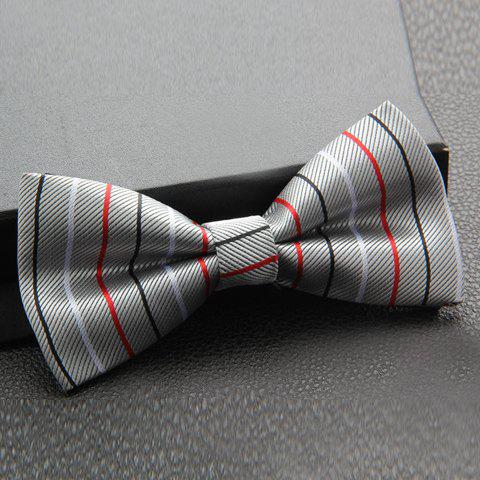 Outfit Stylish Colored Slender Stripes Pattern Bow Tie For Men - LIGHT GRAY  Mobile