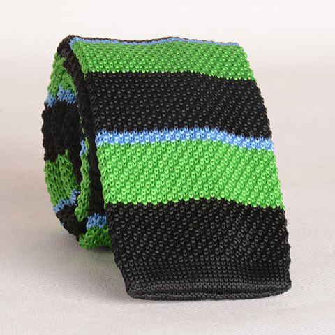 Stylish Wide Stripe Pattern Color Splice Knitted Neck Tie For Men - BLACK/GREEN