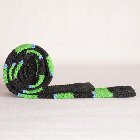 Hot Stylish Wide Stripe Pattern Color Splice Knitted Neck Tie For Men - BLACK AND GREEN  Mobile